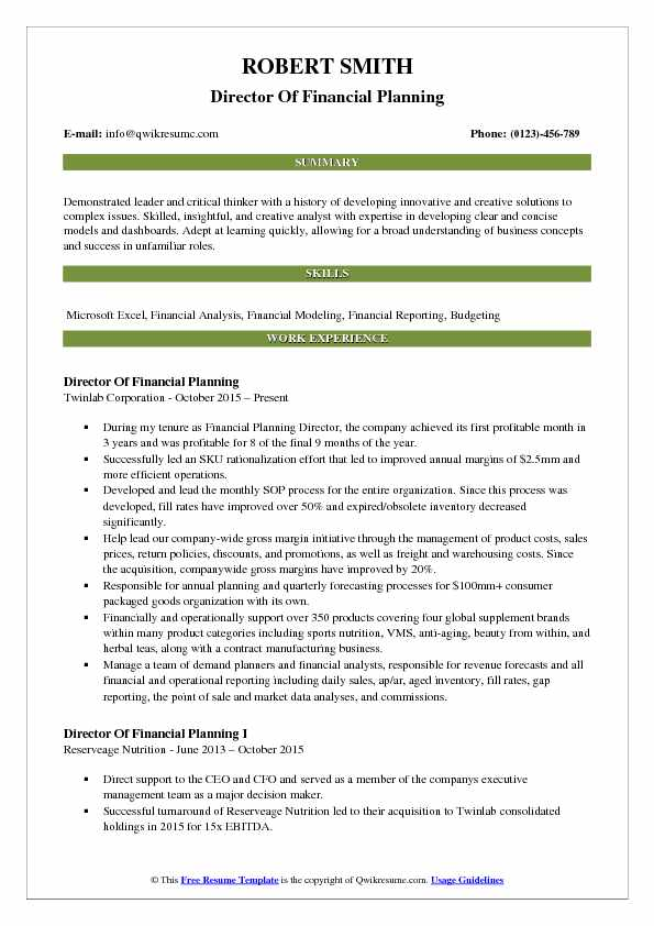director of financial planning resume samples qwikresume and analysis summary pdf optimal Resume Financial Planning And Analysis Resume Summary