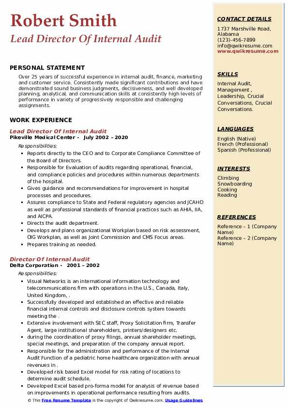 director of internal audit resume samples qwikresume pdf federal job example acquisition Resume Director Of Internal Audit Resume