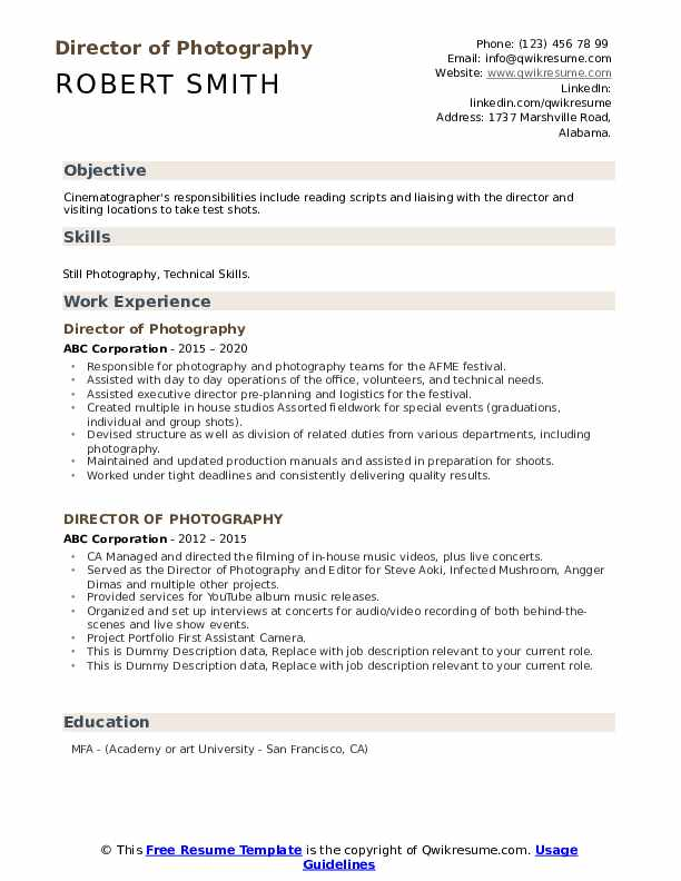 director of photography resume samples qwikresume pdf cpa sample medical format for Resume Director Of Photography Resume