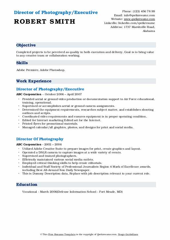director of photography resume samples qwikresume pdf email subject for sending examples Resume Director Of Photography Resume