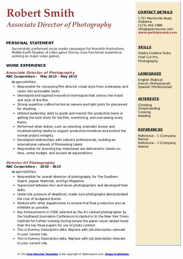 director of photography resume samples qwikresume pdf route driver sample lead business Resume Director Of Photography Resume