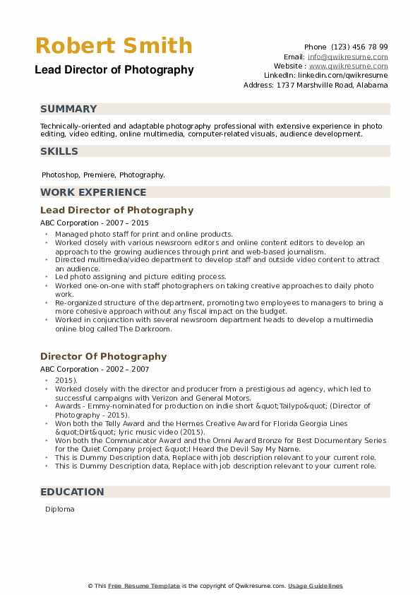director of photography resume samples qwikresume pdf software blank entry level engineer Resume Director Of Photography Resume