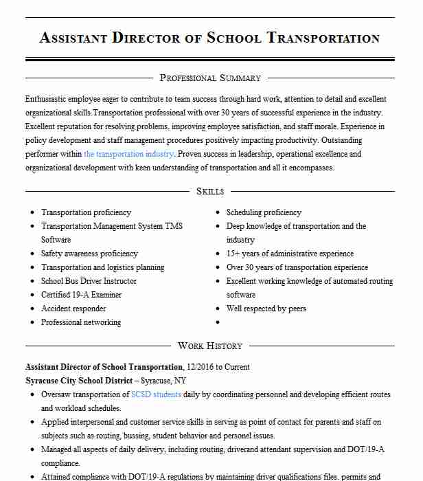 director of transportation resume example public schools transaction advisory services Resume Director Of Transportation Resume
