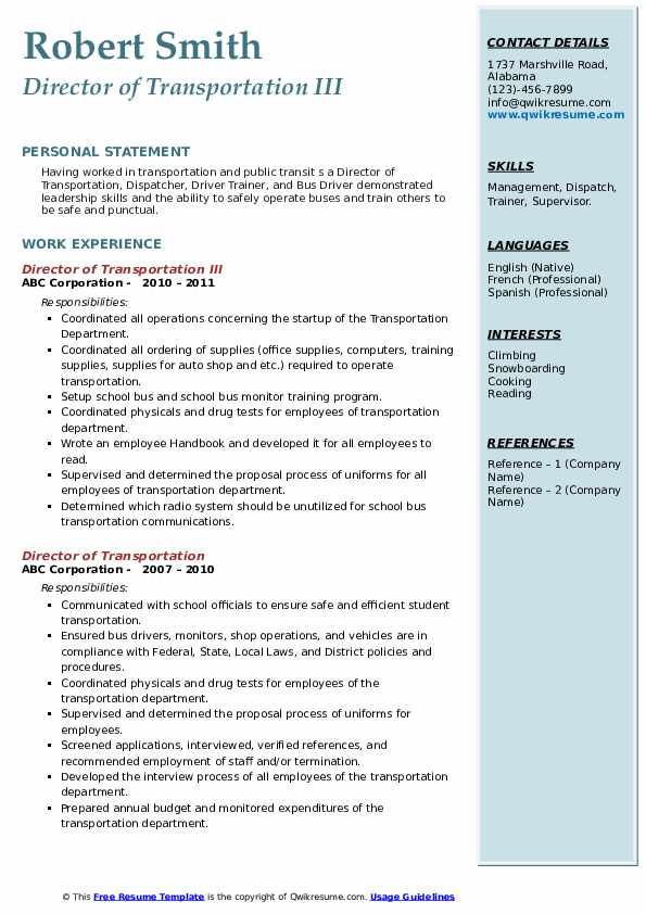 director of transportation resume samples qwikresume pdf senior marketing manager summary Resume Director Of Transportation Resume