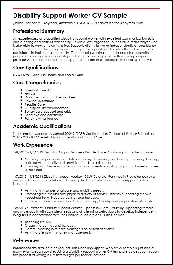 disability support worker cv example myperfectcv resume for community service sample Resume Resume For Community Service Worker