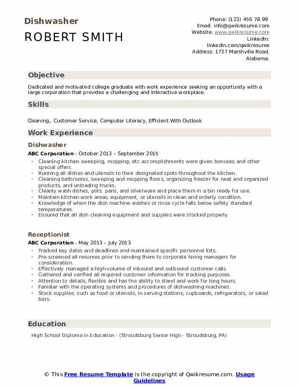 dishwasher resume samples qwikresume job description for pdf college examples students Resume Job Description For Dishwasher For Resume