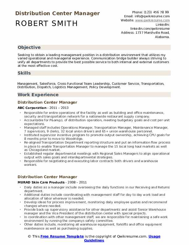 distribution center manager resume samples qwikresume objective pdf sending through email Resume Distribution Center Manager Resume Objective
