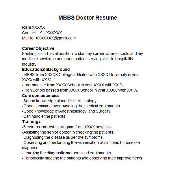 doctor resume templates free samples examples format premium bams mbbs template for Resume Bams Doctor Resume Format Free Download