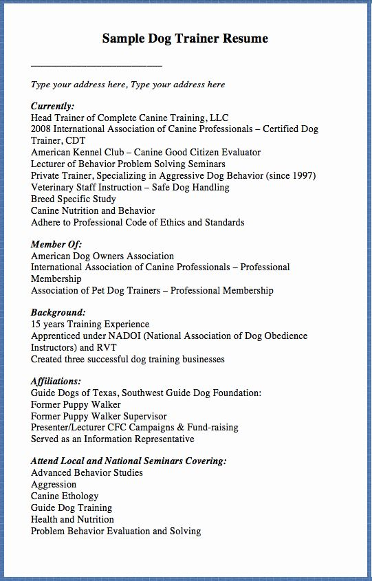 dog training contract template unique sample trainer resume type in letter example Resume Dog Daycare Resume Example