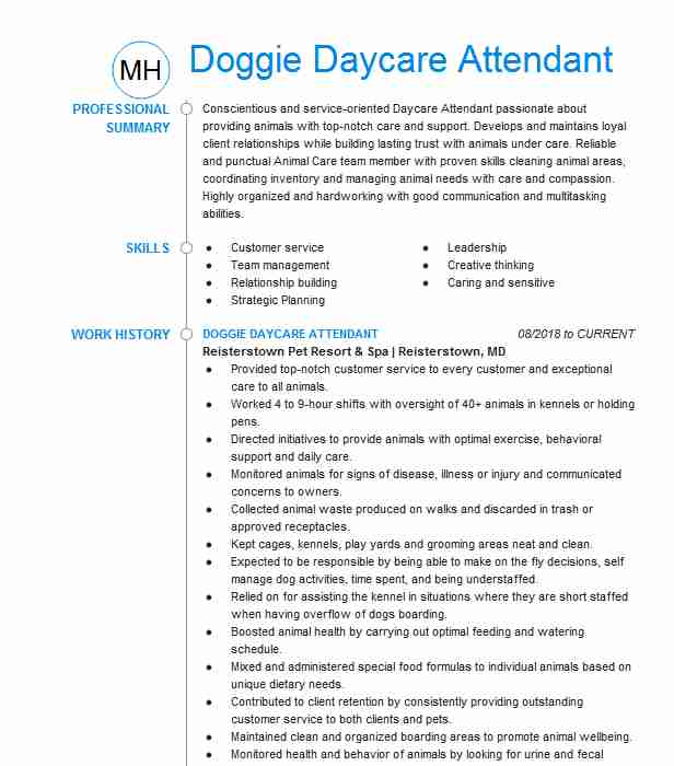 doggie daycare attendant resume example the howliday inn portland dog template for senior Resume Dog Daycare Resume Example