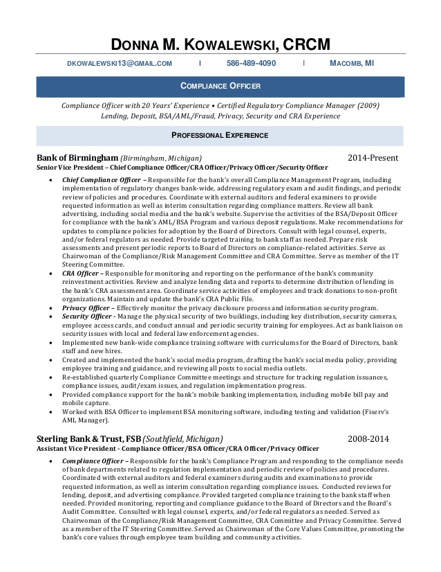 donna kowalewski resume bsa compliance officer whats the best format for excellent Resume Bsa Compliance Officer Resume