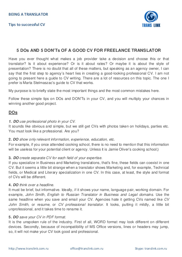 dos and don ts of good cv for freelance translator resume sample donts title your talent Resume Freelance Translator Resume Sample