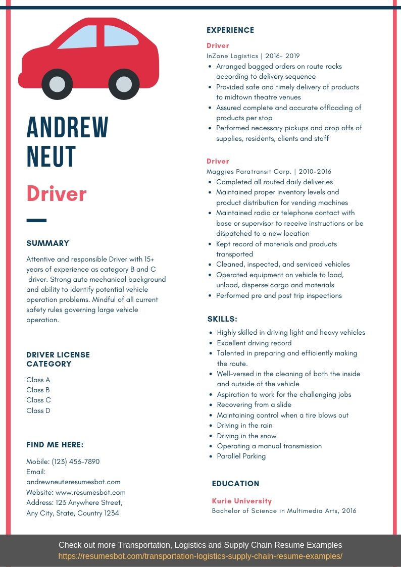 driver resume samples templates pdf resumes bot free truck template example commercial Resume Free Truck Driver Resume Template