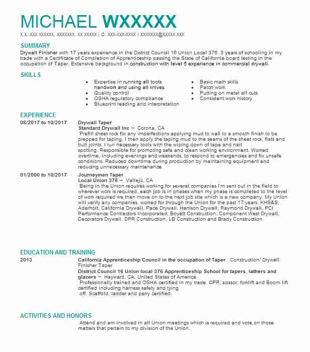 drywall finisher taper resume example unlimited phoenix examples objetive professional Resume Drywall Resume Examples