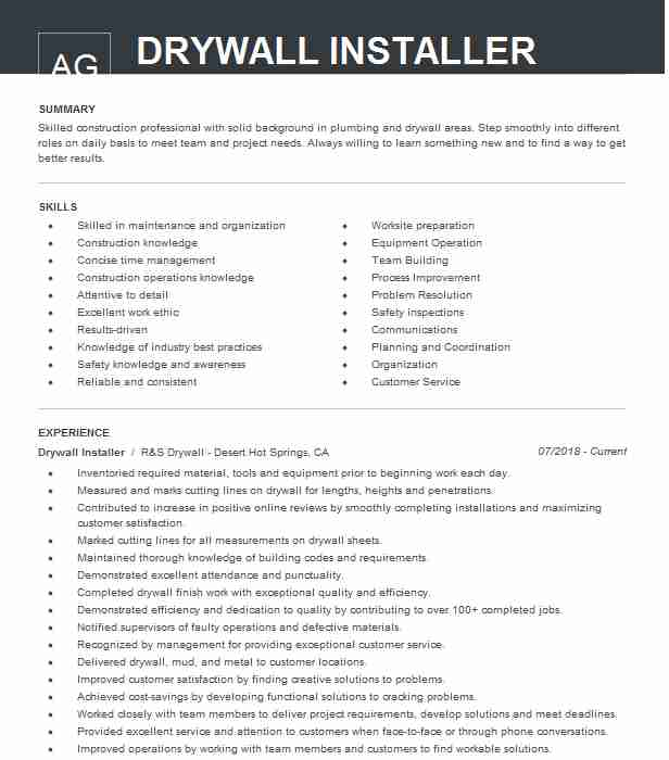 drywall installer resume example resumes livecareer examples driller data entry objective Resume Drywall Resume Examples