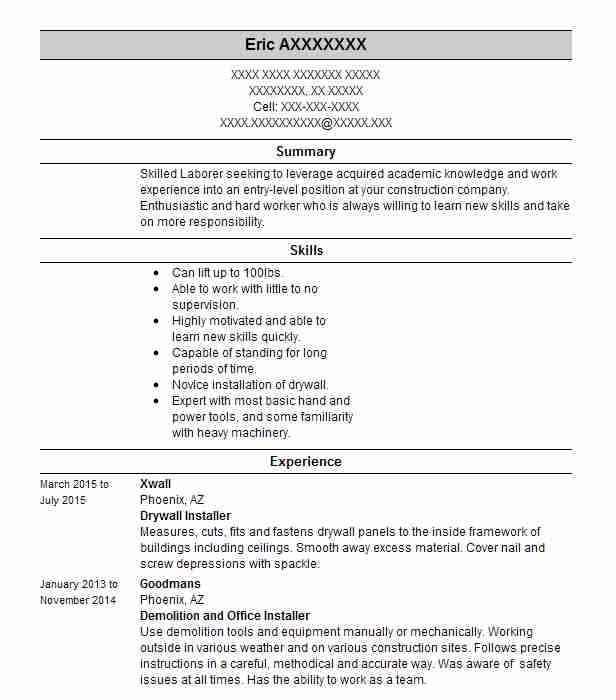 drywall installer resume example resumes livecareer examples mft associate professional Resume Drywall Resume Examples