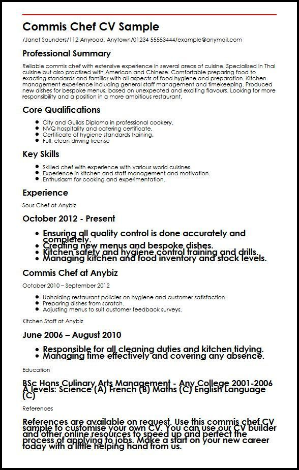 easy commis job description info culinary resume builder shift leader responsibilities Resume Culinary Resume Builder