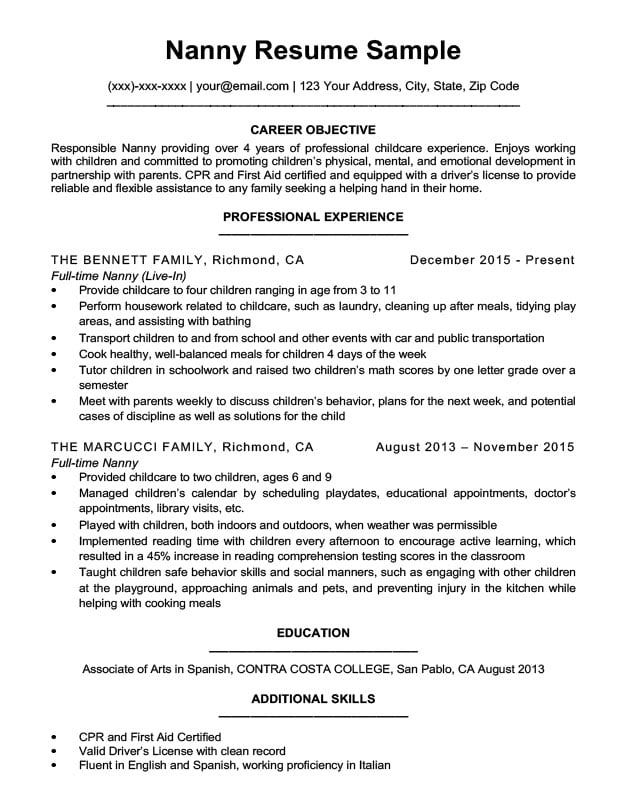 easy nanny job description sample objective resume example stevedore electrical Resume Nanny Objective Resume Example