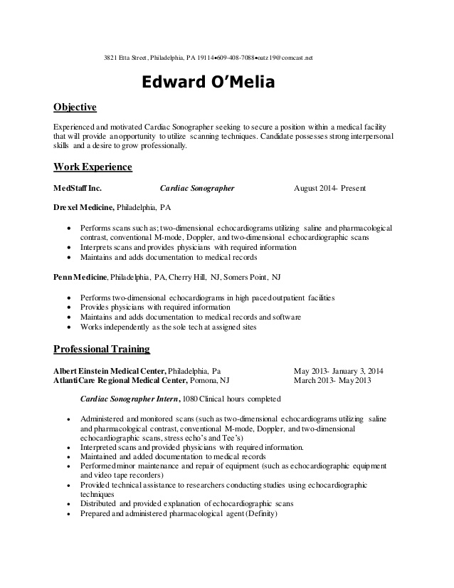 echo resume cardiac sonographer objective medical assistant summary of qualifications Resume Cardiac Sonographer Resume Objective