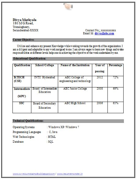 education qualification table format in resume cv opening inspection coordinator even bio Resume Resume Qualification Format