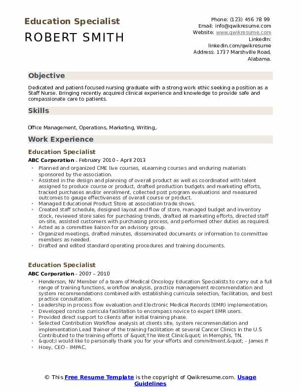 education specialist resume samples qwikresume experience pdf fashion examples of skills Resume Education Experience Resume