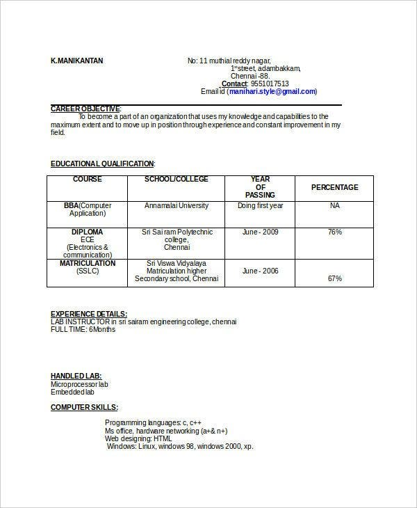 educational qualification table format for resume best examples template format11 Resume Resume Qualification Format
