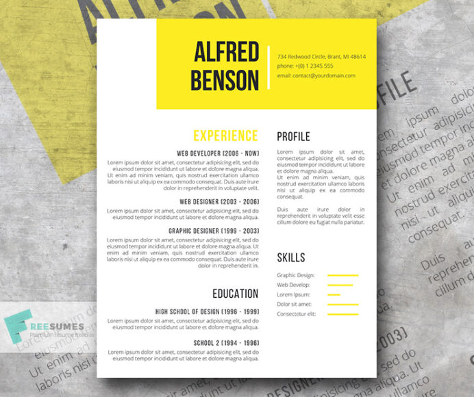 electric yellow free creative resume template for word freesumes templates lying about Resume Word 2003 Resume Templates Free