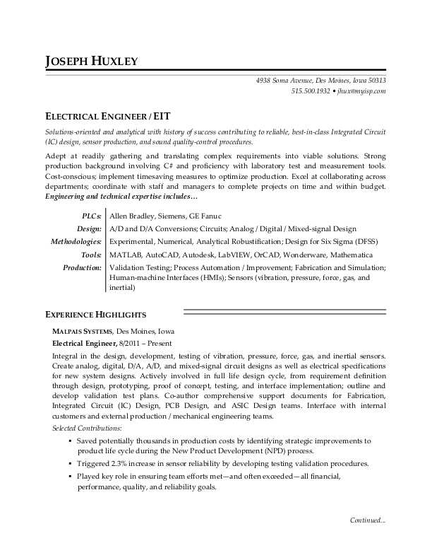 electrical engineer resume sample monster eit certification on for operations profile Resume Eit Certification On Resume