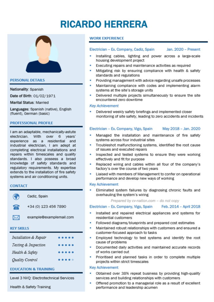 electrician cv examples and writing guide nation job interview without resume Resume Job Interview Without Resume