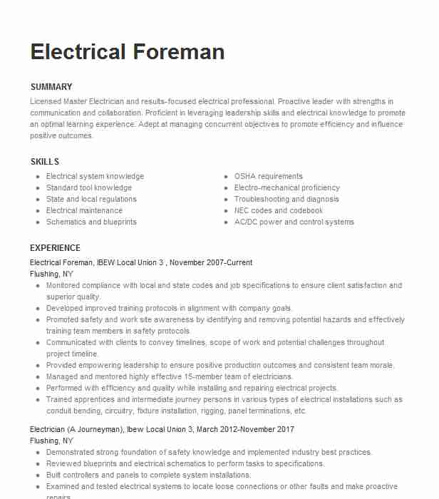electrician electrical foreman resume example gwinn construction inc north job Resume Electrician Foreman Resume