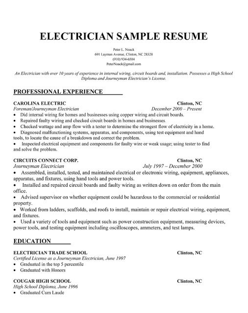 electrician resume samples sample resumes cover letter examples job journeyman template Resume Journeyman Electrician Resume