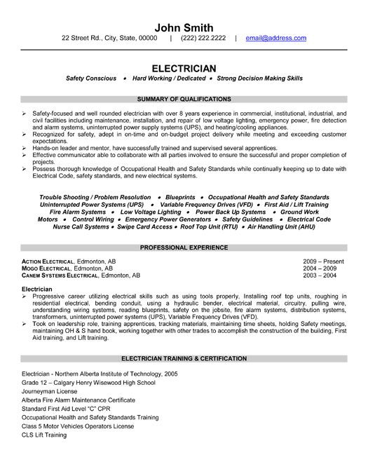 electrician resume template premium samples example examples sample format job summary Resume Electrician Resume Summary Example