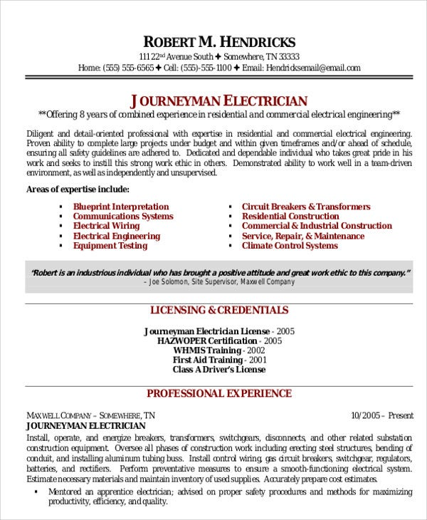 electrician resume templates pdf free premium journeyman professional resume4 sample for Resume Journeyman Electrician Resume