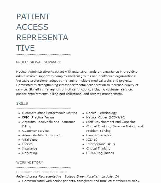 emergency department patient access representative resume example hospital east winter Resume Patient Access Representative Resume