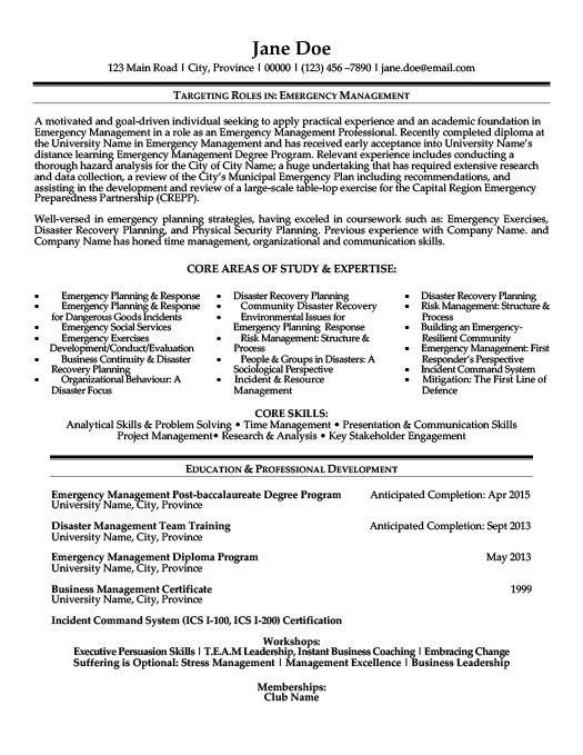 emergency management resume template premium samples example student incident and problem Resume Incident And Problem Management Resume