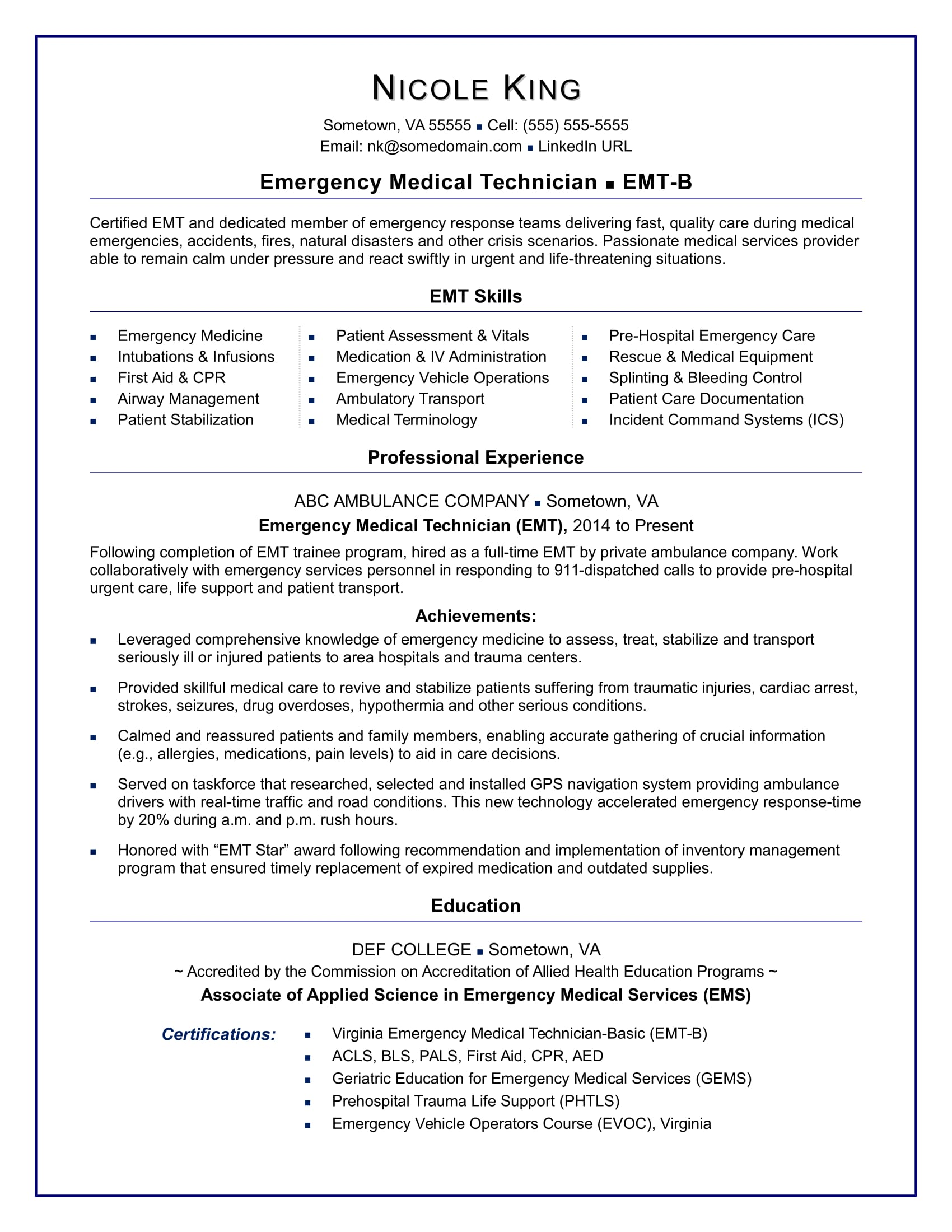 emt resume sample monster and certifications stna objective examples fleet manager active Resume Resume And Certifications