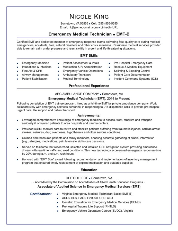 emt resume sample monster medical school example catering job duties for college student Resume Medical School Resume Example