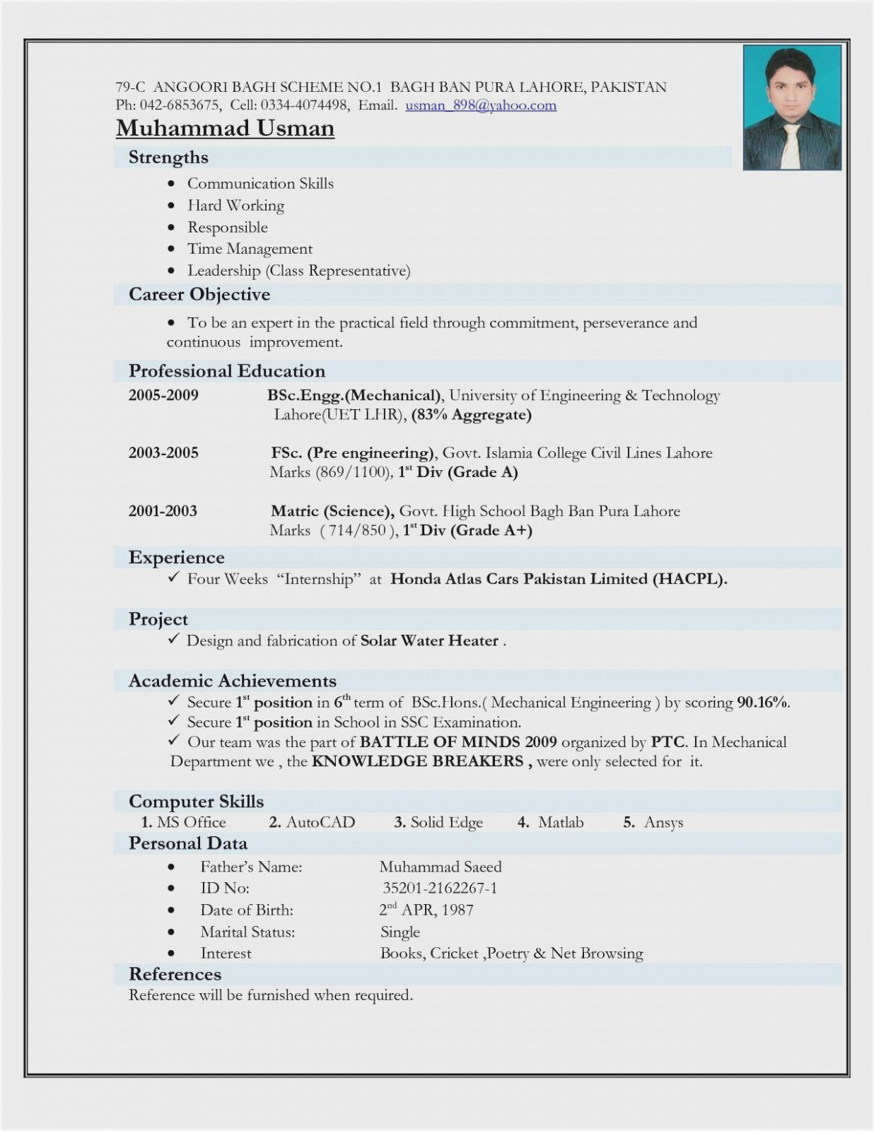 engineer resume template in mechanical engineering format for freshers computer hardware Resume Computer Hardware Engineer Resume Format