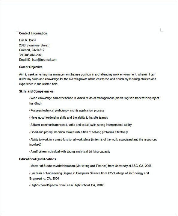 enterprise manager trainee resume for position many of us interested in being content Resume Management Trainee Resume For Freshers
