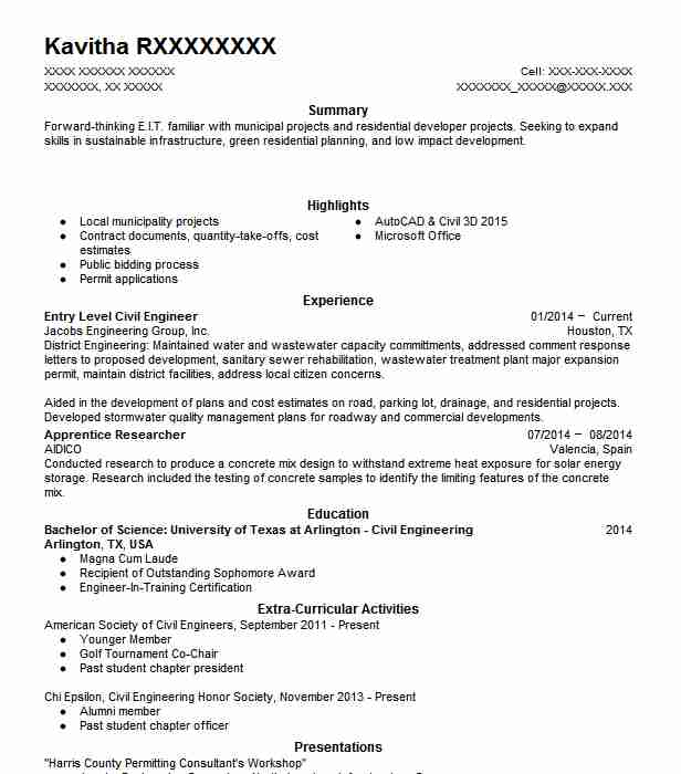 entry level civil engineer resume example livecareer objective for engineering basic set Resume Objective For Resume Civil Engineering