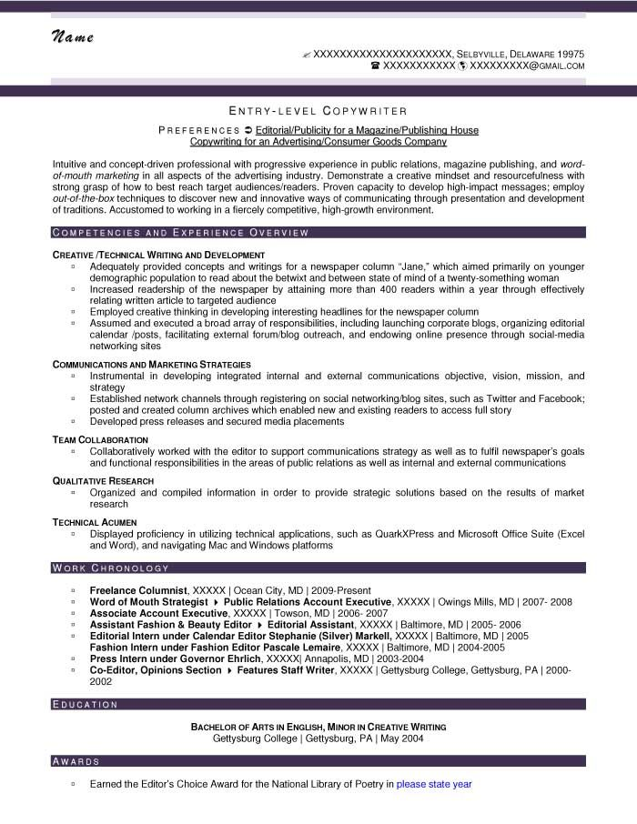 entry level copywriter resume sample after objective nursing template advertising indeed Resume Advertising Copywriter Resume