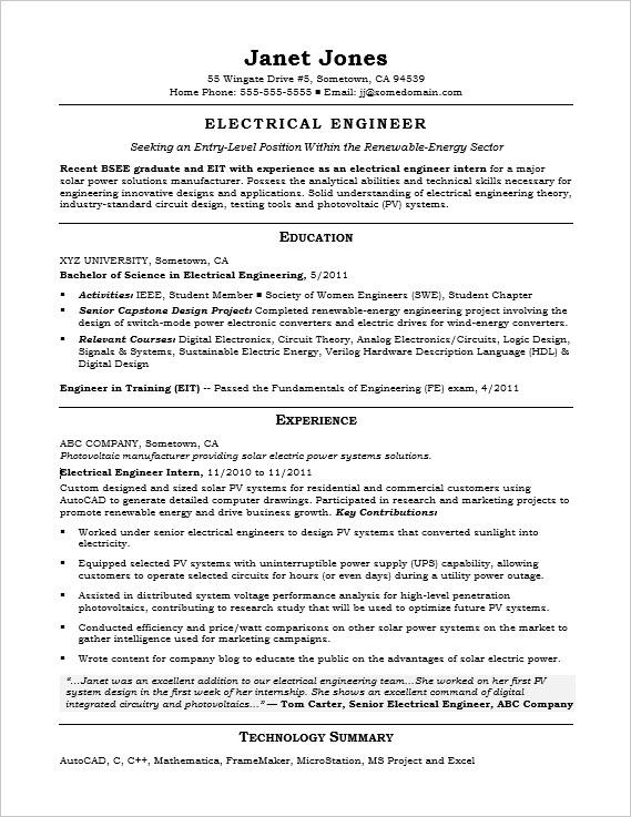 entry level electrical engineer sample resume monster standard format for experienced Resume Standard Resume Format For Experienced Engineers