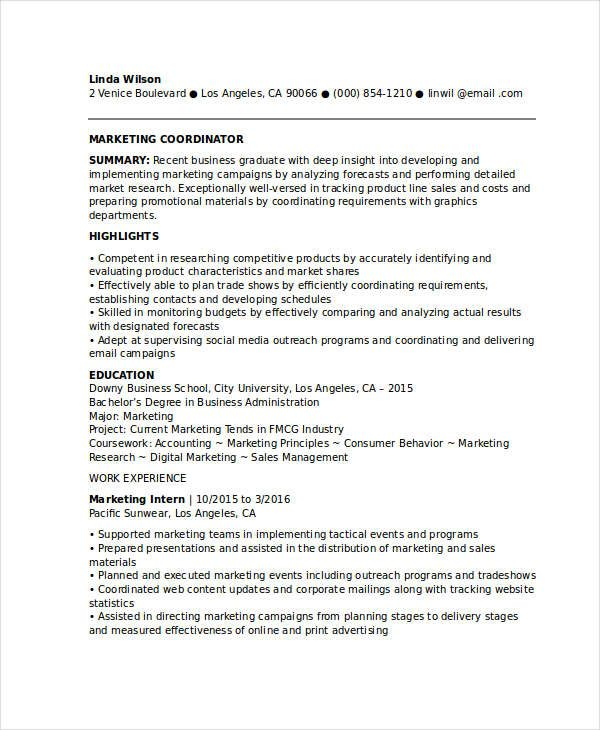 entry level marketing coordinator resume samples for successful job hunters it is Resume Marketing Resume Summary Examples