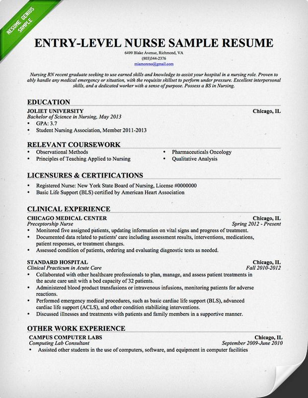 entry level nurse resume sample genius registered nursing template examples project Resume Entry Level Nurse Resume