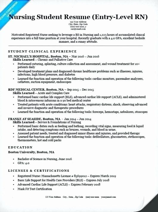 entry level nursing resume fresh examples of nurse resumes samples beautiful template Resume Entry Level Nurse Resume