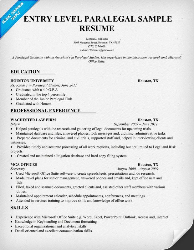 entry level paralegal resume sample resumecompanion student template teaching examples Resume Paralegal Resume Examples 2020