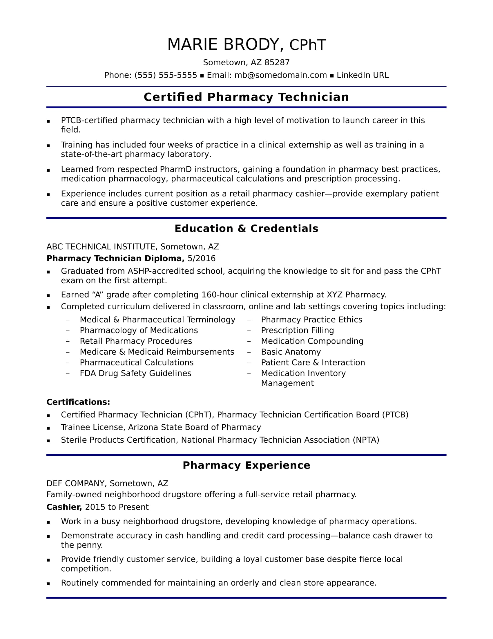 entry level pharmacy technician resume sample monster and certifications professional Resume Resume And Certifications