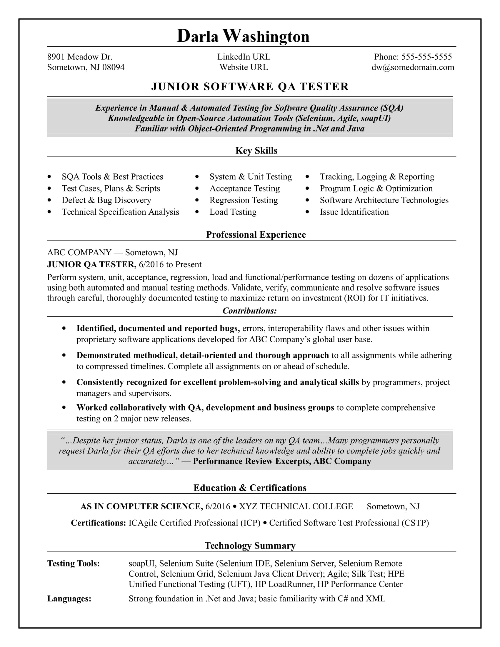 entry level qa software tester resume sample monster loadrunner experience technical Resume Loadrunner Experience Resume