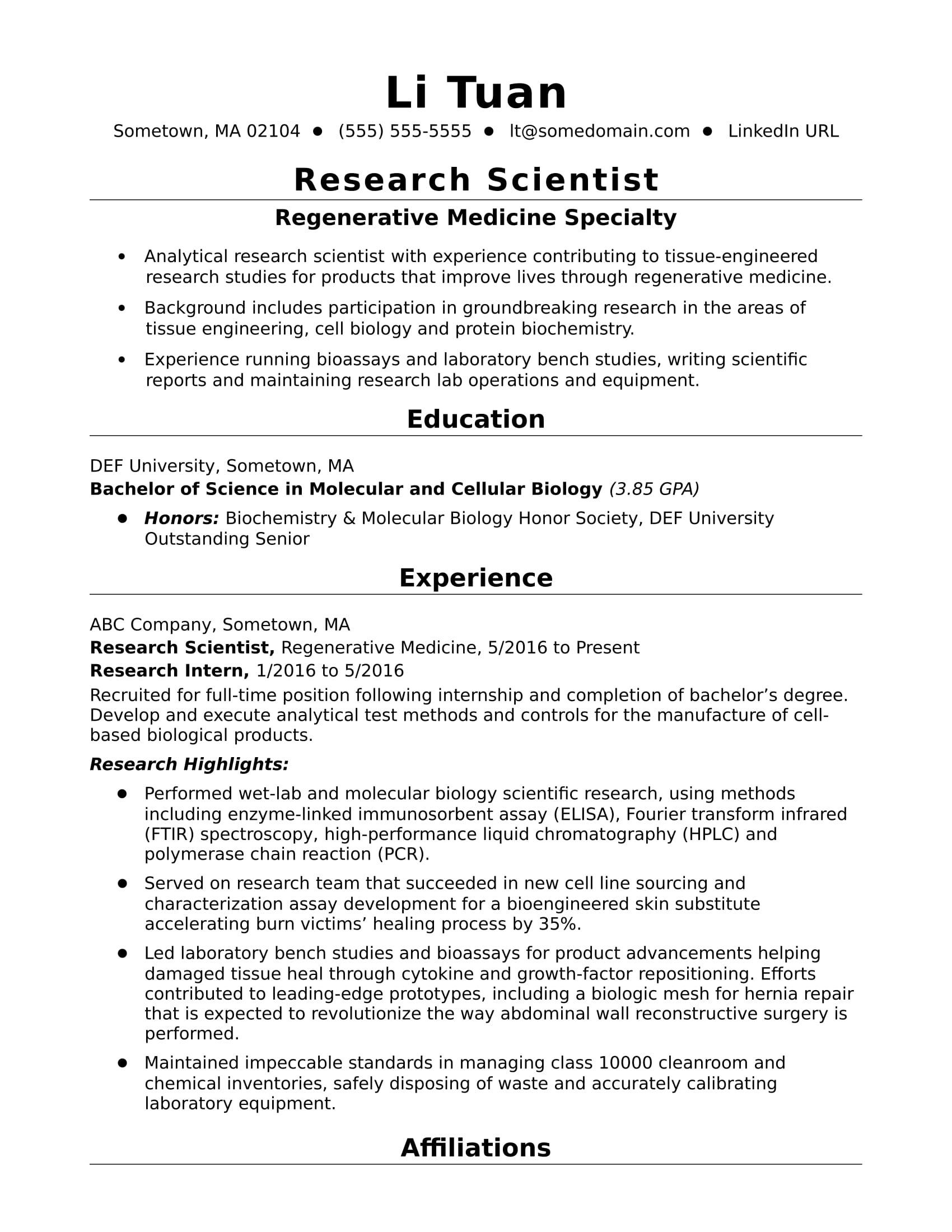 entry level research scientist resume sample monster for position oracle business Resume Resume For Research Position