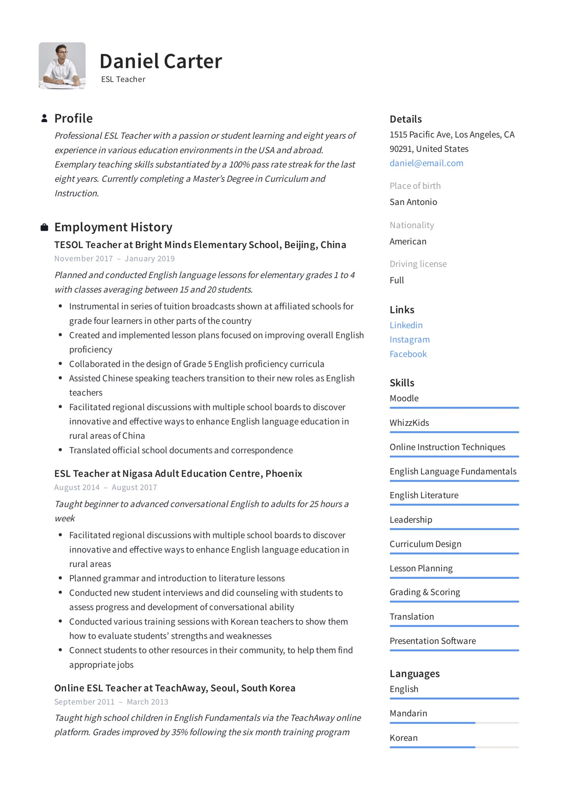 esl teacher resume examples writing guide description for example possible skills high Resume Resume Description For Teacher